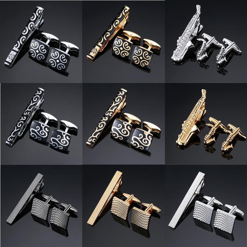 Novelty High Quality Cuff Links Necktie Clip For Tie Pin For Men's Gift Hand Engraving Tie Bars Cufflinks Tie Clip Set Jewelry