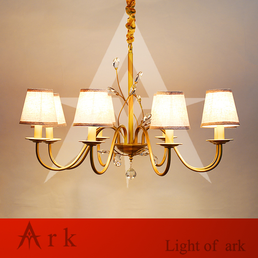 ARK LIGHT iron rural Nordic restaurant bedroom led European-style gold chandelier LED crystal 8 heads LAMP bed ROOM living room цена и фото