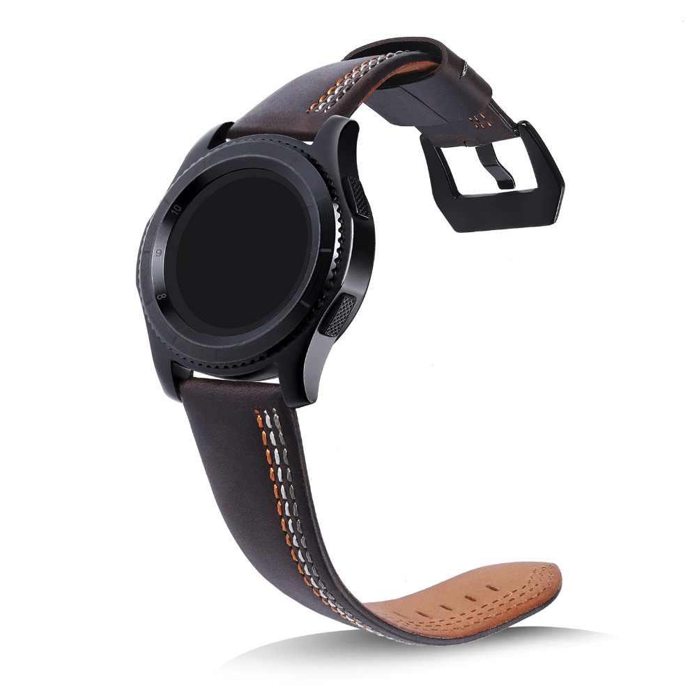 Nowy ręcznie szyte linie skórzane s3 pasek do zegarka pasek 22mm do Samsung Gear S3 pasek dla Pebble czas stali nierdzewnej pasek do zegarka do Pebble 2