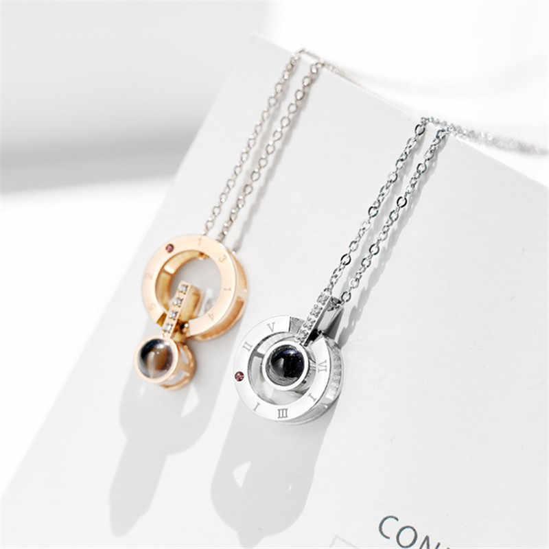 Perak Bulat Liontin Aku Cinta Anda Dalam 100 Bahasa Proyeksi Kalung untuk Memori Cinta Kalung Collier Grosir