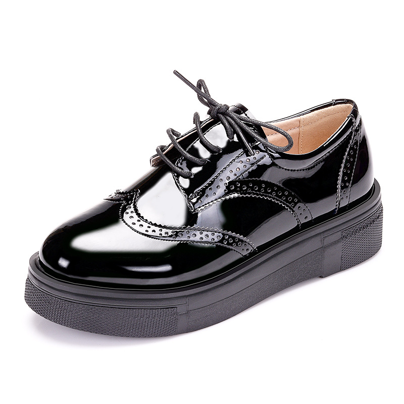 Women Platform Shoes Woman Patent Leather Brogue Paltform Flats Lace Up Footwear Female Flat Oxford Shoes for Women Size 34-43 beffery 2018 british style patent leather flat shoes fashion thick bottom platform shoes for women lace up casual shoes a18a309