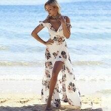 Floral ruffles long summer dress Women White chiffon High split strap beach dress Sexy backless maxi dresses vestidos