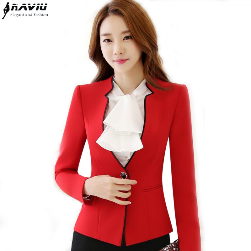 Aliexpress.com  Buy Elegant Long Sleeve Black Red Blazer Women Slim Formal Business One Button ...