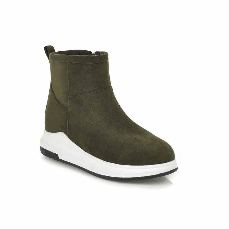 QZYERAI 2018 Nieuwe winter warm lederen vrouwen laarzen enkel snowboots bont vrouwen laarzen mode warme vrouwen schoenen