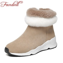FACNDINLL shoes autumn winter women warm snow boots wedges heels round toe shoes woman casual ankle boots genuine leather shoes