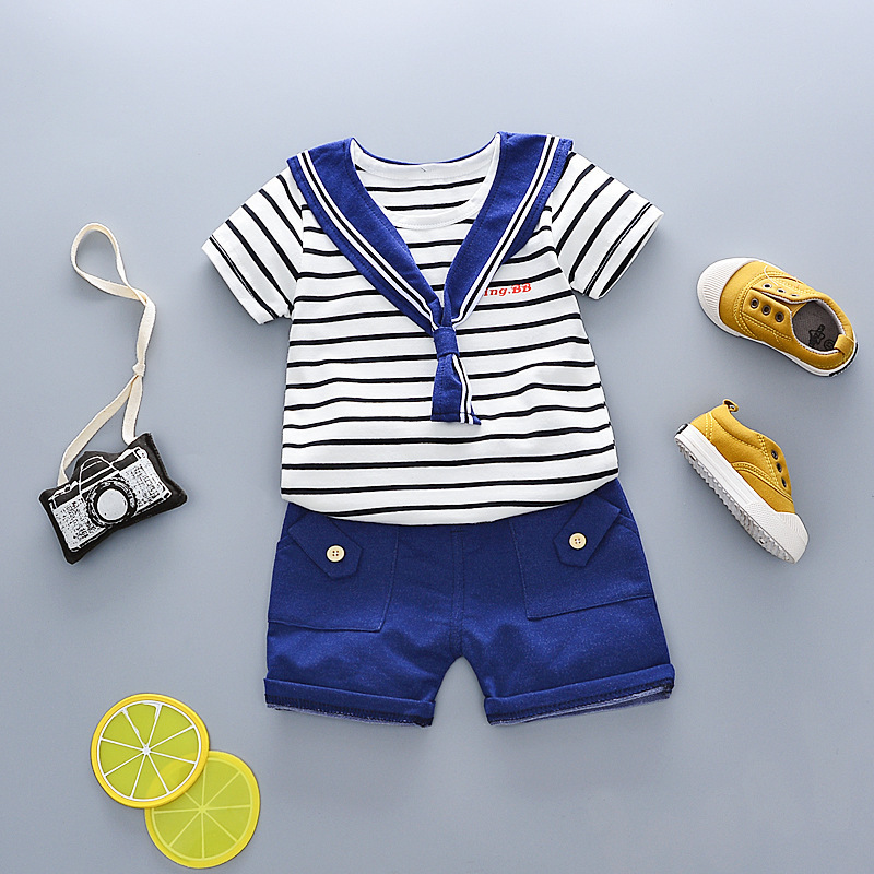 2018 New Hot Summer Leisure Cotton Stripe Navy Sailor Serve Short Sleeve Shorts 2pcs Children Kids Toddler Suits For 0-4 Years 1pair 100cm sport luminous shoelace glow in the dark color fluorescent shoelace athletic sport shoe laces reflective shoelaces