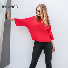 IPHUNGO Autumn Winter Women Knit Sweater Ladies Warm O-neck Three Quarter Sleeve Pullovers Loose Women's Sweaters Pull Femme