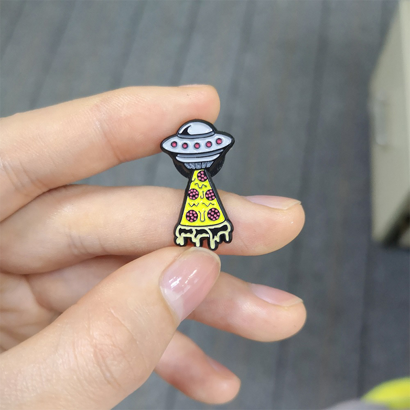 Initiative Gray Ufo Enamel Pin Yellow Fruit Pizza Receiving Light Brooches Cartoon Food Badges Denim Jackets Lapel Jewelry Kids Accessories Jewelry & Accessories