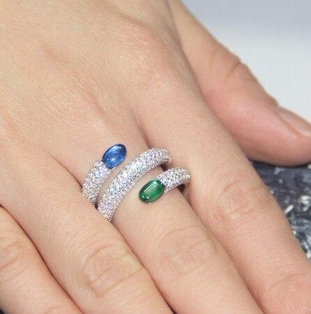 women vintage anel kpop bijoux en argent 925 jewellery zirconia rings with 2 pieces green blue
