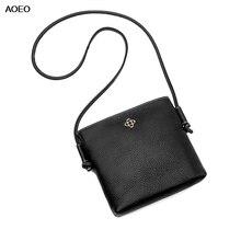 AOEO New Elegant Shoulder Bag Women Genuine Leather Top Quality Girl Mini Crossbody Black Pink Ladies Small Messenger