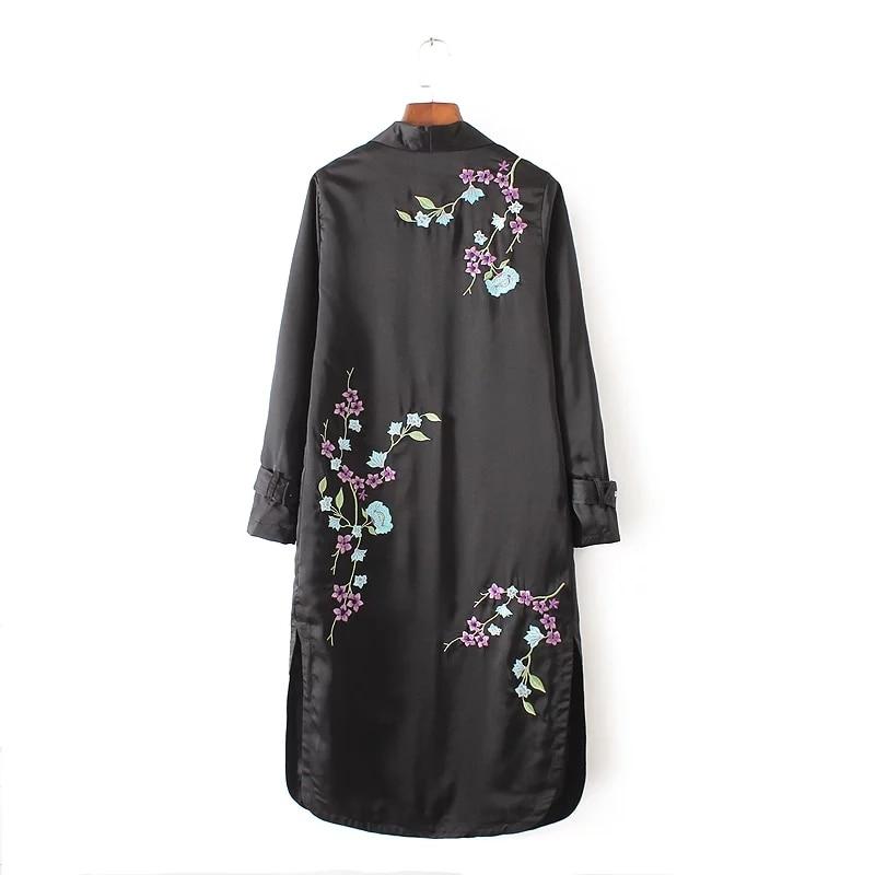 2016 autumn new fashion all-match windbreaker side split back embroidery loose long coat large size women