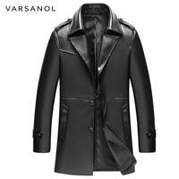 Varsanol Long Trench Mens PU Jackets Coats Windbreaker Leather Jackets Full Sleeve Autumn Turn Down Collar Button Brand Clothing