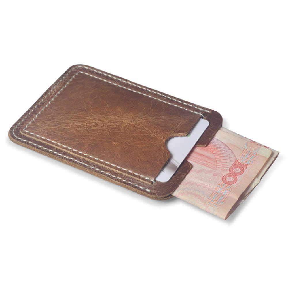 En gros 100% en cuir pratique ID poche carte de crédit bancaire étui mince carte portefeuille hommes cartes d'argent liquide Pack Bus porte-carte nouveau # Y3