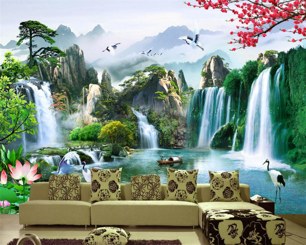 Beibehang Definition Of High-definition Natural Scenery Chinese Fresco Wallpaper Living Room TV Mural Home Decoration Wallpaper