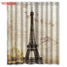 WONZOM Eiffel Tower Curtain Bathroom Decoration The Statue Of Liberty The Leaning Tower Of Pisa Big Ben Waterproof Bath Cuntain the tower