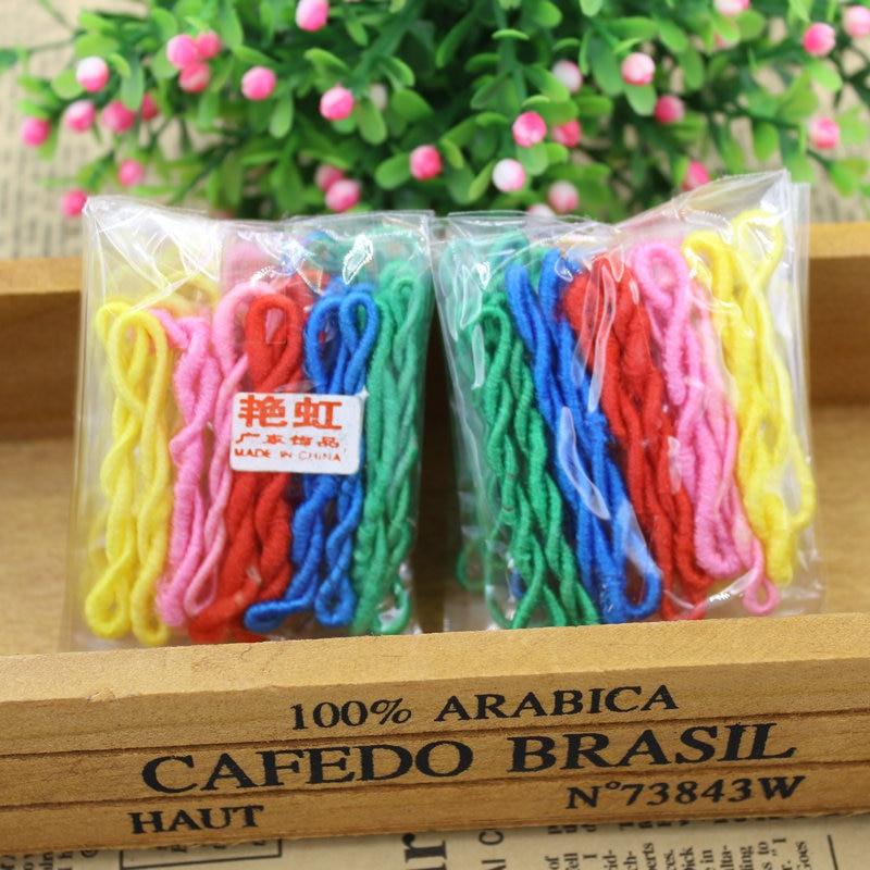(KAKU0024) 50pcs/lot Colorful Child Kids Hair Holders Cute Rainbow Rubber Bands Hair Elastics Accessories Tie Gum (Mix Color)
