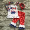 July 4th Baby Girls Kids Wear Summer Red Cotton Owl Ruffles Capri Outfits Patriotic With Matching
