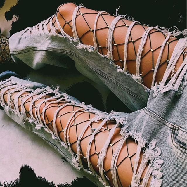 536600cbc63 Women Crystal Rhinestone Fishnet Elastic Stockings Fish Net Tights Pantyhose  Hot Solid Ladies Stockings