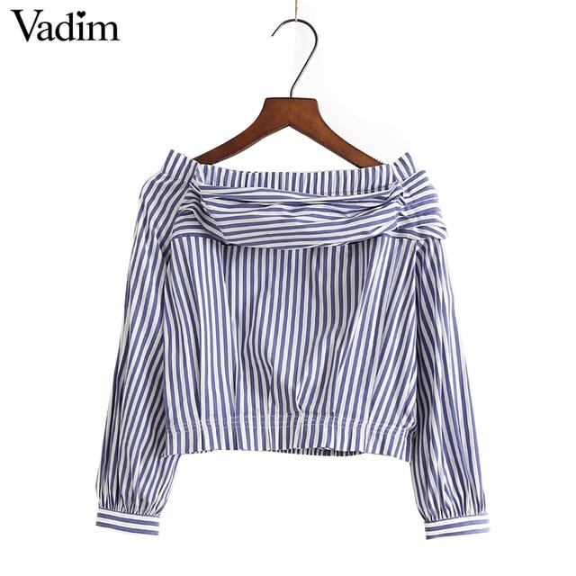 Mujeres sexy Slash cuello rayas camisa de cosecha Top linterna manga blusa elástico dobladillo señoras moda streetwear tops blusas LT1598