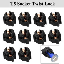 10pcs T5 Socket Twist Lock For PC74 Instrument Panel Cluster Plug Dash Light Bulb