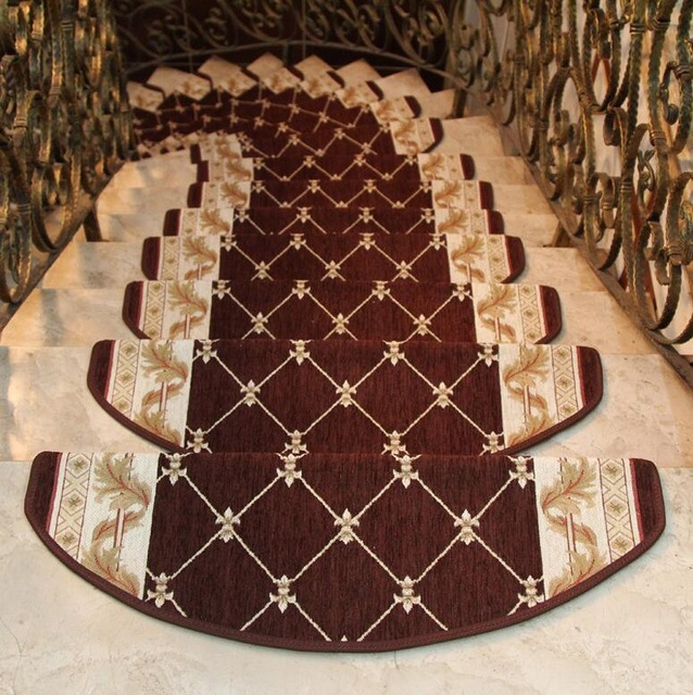 Luxury 10 Pieces Stair Carpet Sets Slip Resistance Stair Tread Mats Rugs  For Stair Step