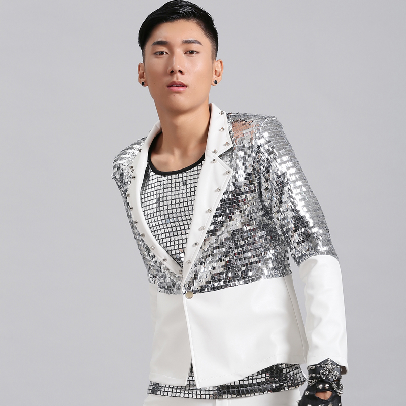 Jazz Costume Nightclub Male Singer Bar DJ Silver Sequin Clothing Suit Leather Show Costumes Men Stage