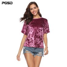 PGSD Summer solid color Loose Short sleeve Purplish red Velvet female T-shirt Simple Fashion Streetwear Pullover Women Clothes цена