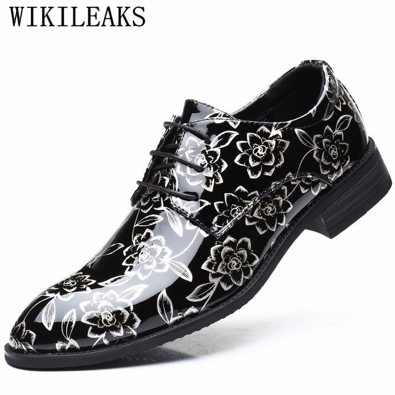 2019 Luxus Marke Männer Schuhe Leder Oxford Schuhe Für Männer Patent Leder Druck Hochzeit Formale Schuhe Männer Sapato Social Masculino QualitäTswaren