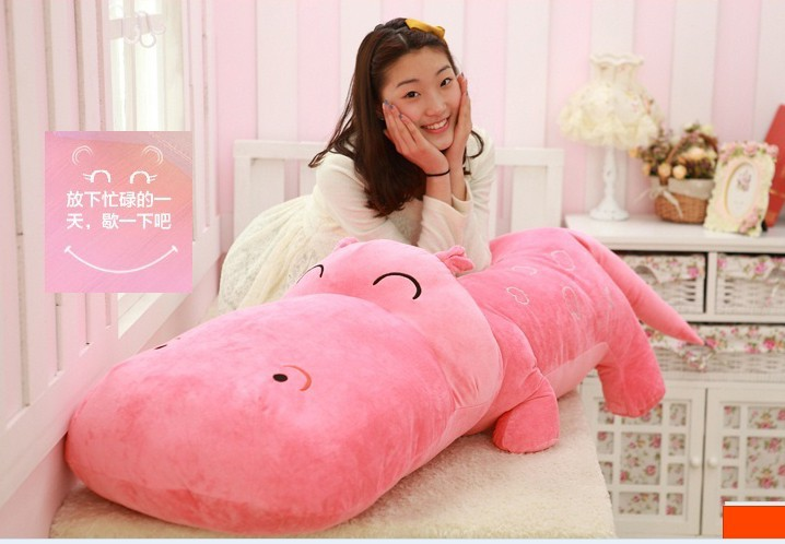 ФОТО huge  lovely hippo toy plush doll cartoon hippo doll gift toy about 140cm pink