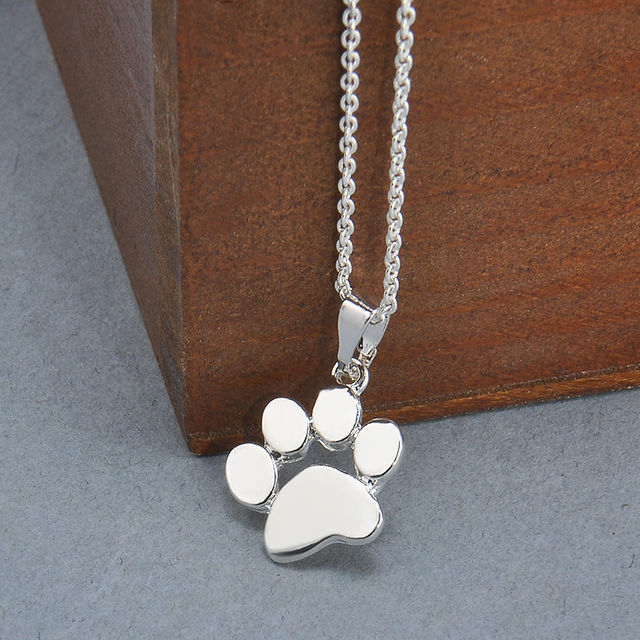 Silver Gold Color Paw Chain Pendant Necklace