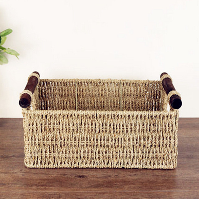 Delicieux Hand Made Straw American Style Wood Handle Rectangle Receive Sundry Storage  Basket Snacks Commonly Used