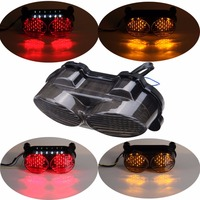 Motorcycle Smoke LED TailLight Turn Signals Tail Light For Kawasaki ZR7S 00 03 ZX6R 98 02
