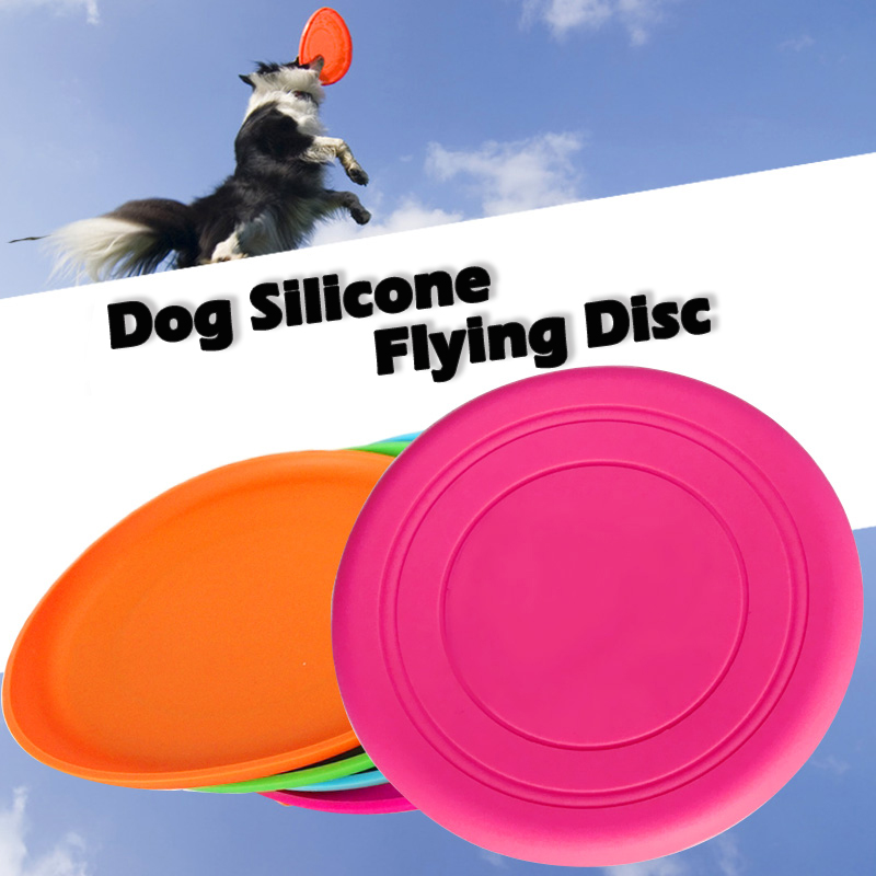 Hot Environmental Protection Silica Gel Soft Pet Flying Discs Dog Toys Saucer Big Or Small Dog Toys Pet Shop Diameter 18CM(China)