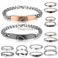 2 Pcs Wholesale Rhinestone Heart Stainless Steel Couples Id Chain Bracelet Bangles For Women Mens Friendship