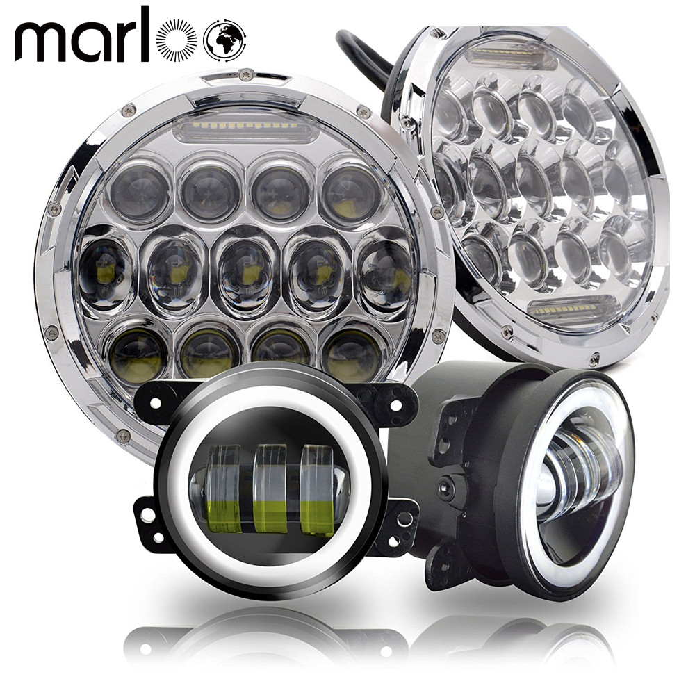 Marloo Wrangler Light Set 75W 7inch LED Headlights With 4 inch LED Fog Light White DRL Halo Ring For Jeep Wrangler 97-2017 JK TJ 6 inch led headlights eagle light hi lo beam halo ring angel eyes x drl for offroad jeep wrangler front bumper fog light