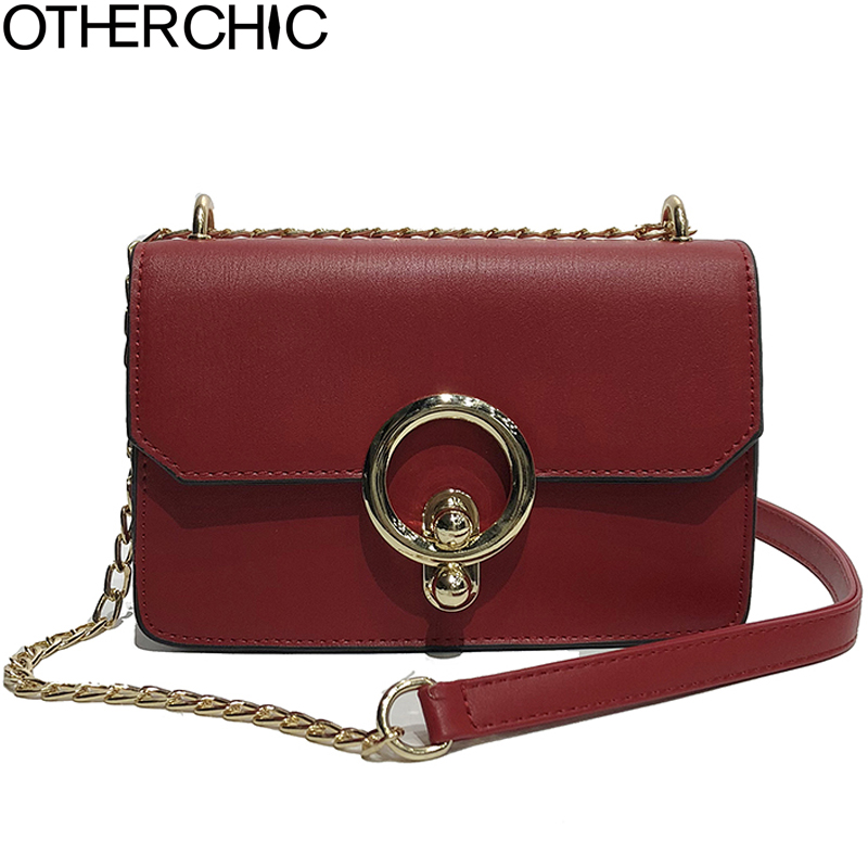 OTHERCHIC Fashion PU Leather Bags for Women Messenger Bag Chain Strap Famous Brand Crossbody Bags Small Shoulder Bag 8N03-19