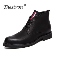 2019 Thestron Man Working Boots Black Men Fashion Spring Autumn Mens Thick Sole Shoes Comfortable Casual For Male