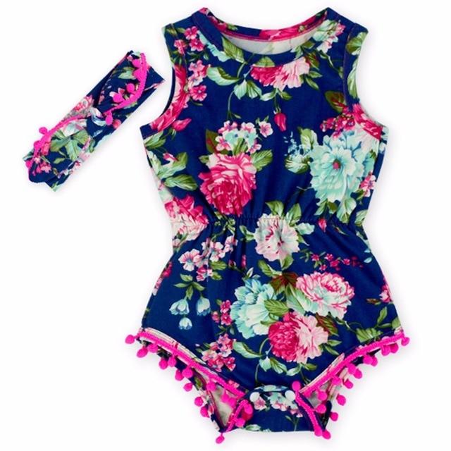 6c287f416c0 (GOTA de ORVALHO) azul marinho Rosa Quente Floral Pom playsuit Macacão Para  meninas chique