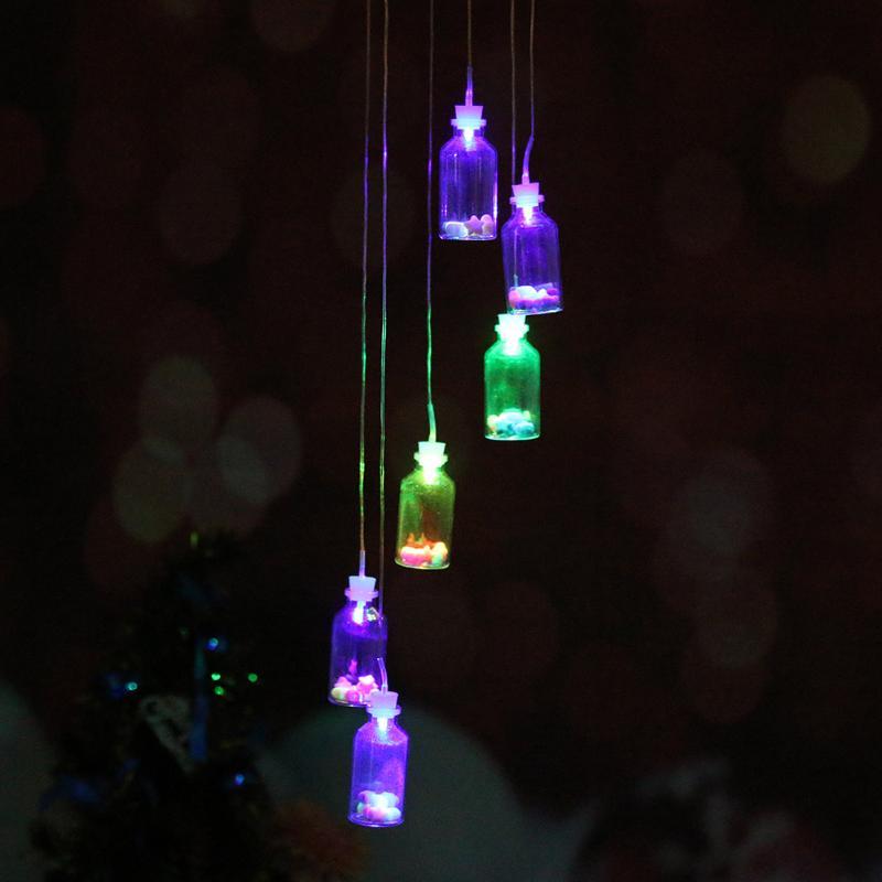 Solar Panel Wind Chimes Lamps (Luck Bottles) Color Changing Glass Solar Light Romantic Solar Power Light Mobile Hanging Lamp