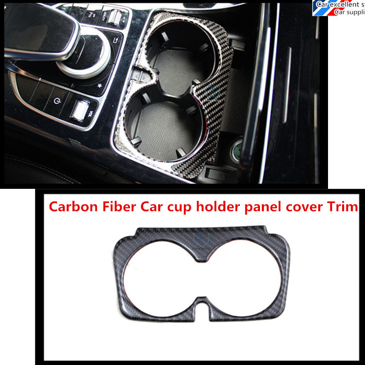 LHD New C class C180 C200 C260 W205 Carbon Fiber Car cup holder panel cover Trim for 2015