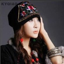 KYQIAO летние шляпы банданы дизайн Вышивка Цветы винтажные кепки Этническая шляпа для женщин