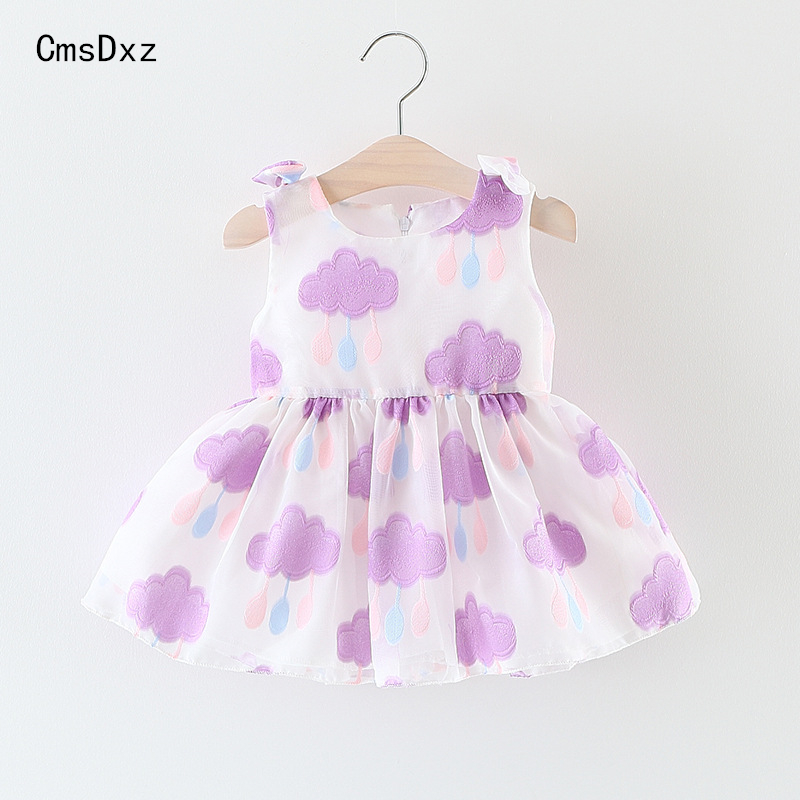 CmsDxz Baby Girl Dress 2017 Summer Clothes Sleeveless Clouds Embroidery Dresses For Girls Birthday Gift Clothing Infant Wedding