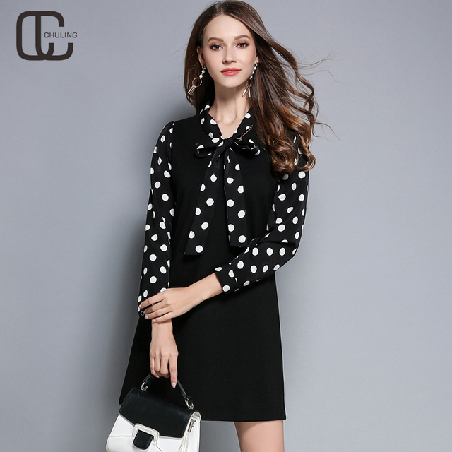 US $36.98 |New Autumn Women\'s Plus Size Tie Dresses Vintage Bow Dot Print  Red Black Ladies Casual Elegant Dress Woman Clothing M 5XL-in Dresses from  ...