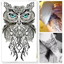 Blue Eyes Owl Temporary Body Art Flash Tattoo Sticker, 12*20cm Waterproof Henna Fake Tatoo Summer Beach Style Adult Sex Products