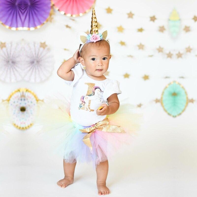 1 Year Baby First Birthday Unicornio Rainbow Colorful Fairy Tutu Fluffy Unicorn Dress with Headband Toddler Halloween Costume