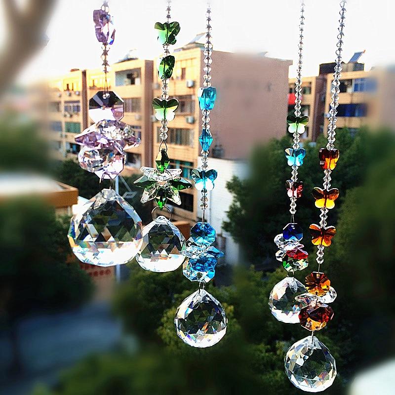 5pcs/lot Mixcolors Glass Crystal Ball+14mm Octagonal Beads Suncatcher Pendants Crystal Prisms Chandelier Parts Wedding Decor