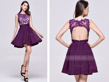 2016 new fashion sexy backless appliques vestido de festa a-line beading lace short mini purple prom dresses off the shoulder purple off the shoulder bell sleeves mini dresses with belt