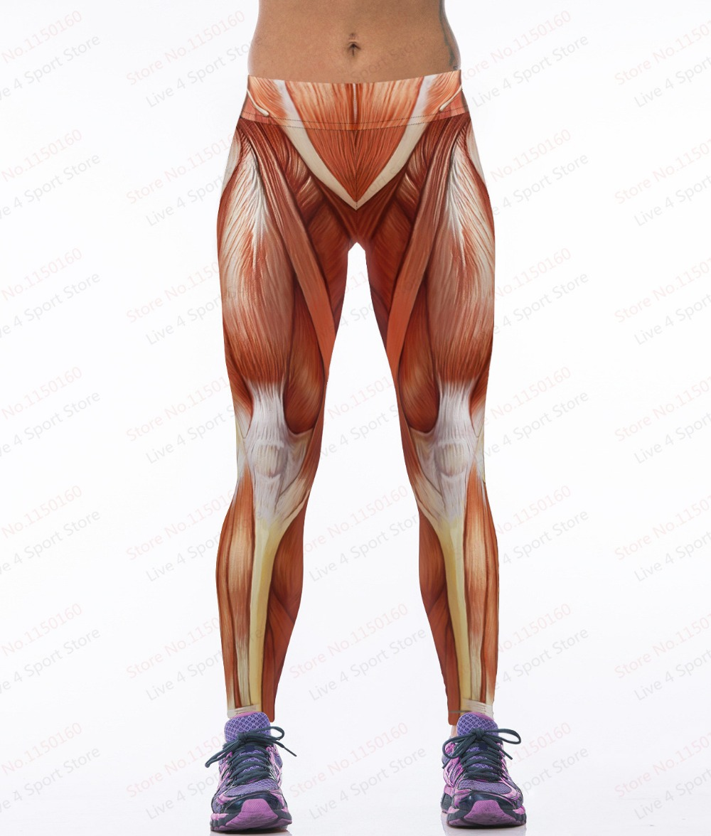 Sexy Muscular Sports Yoga Pants Women 3d Print Strong Muscle Gym