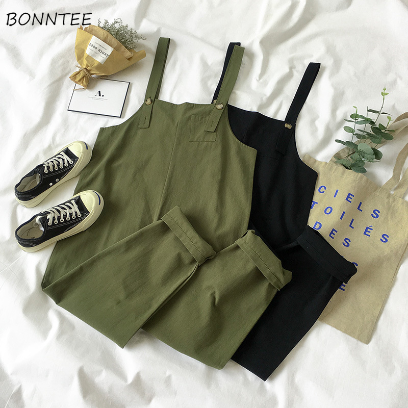 Jumpsuits Women Trendy Loose Solid Pockets Retro Strap Students Trousers Womens All-match Korean Style Leisure Jumpsuit Ladies
