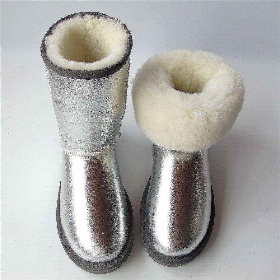 Winter Sheepskin Snow Boots Women Waterproof Non Slip Natural Wool Sheep Fur Boots Mid Calf Genuine